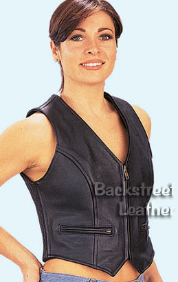 Zipper-front vest with stretch side panels