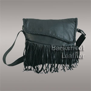 Large fringed bag with braided trim