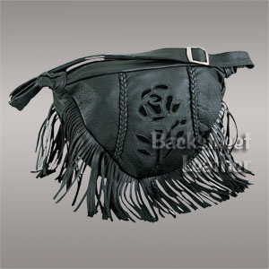 Large fringed bag with suede rose inlay