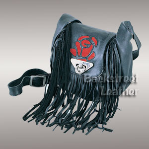 Fringed bag with suede rose inlay