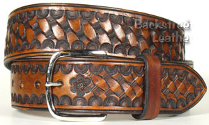 Double-Thick Work Belt, Hand-tooled Basketweave Design