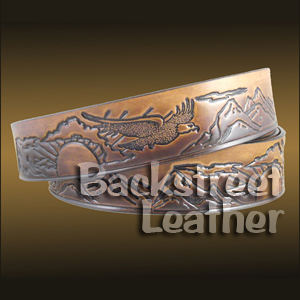 Eagle, Sun and Mountains Embossed Belt
