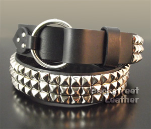 Pyramid Studded Belt with Ring